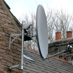 motorised satellite dish installation