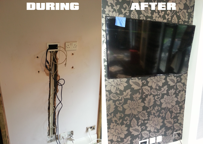 TV wall mounting before during after
